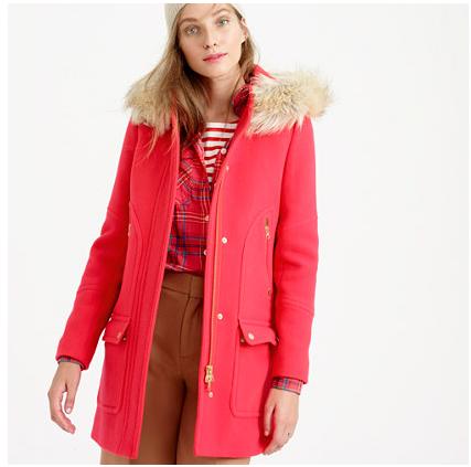 red J. Crew coat